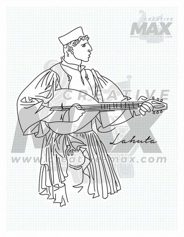 Albanian Folks - Gitara - Hand drawn illustration