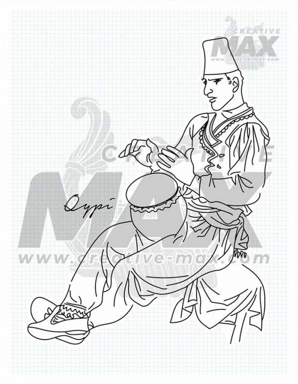 Albanian Folks - Qypi - Hand drawn illustration